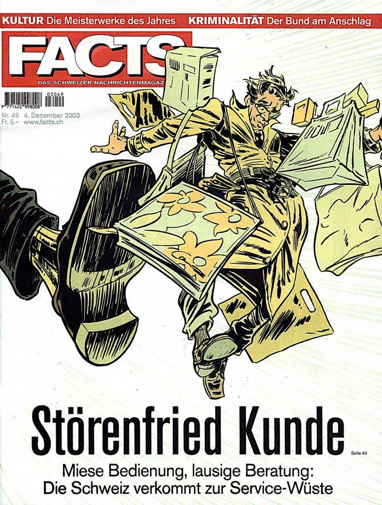 Dies ist die Cover-Illustration des Nachrichtenmagazins «Facts» aus dem Jahr 2003