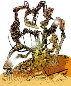 Dies ist eine Illustration zum Thema Roboterisierung der Arbeitswelt